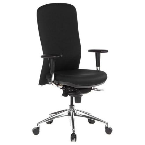 chollos oferta descuentos barato hjh OFFICE 710400 silla de oficina HIGH TEC tejido negro con apoyabrazos respaldo alto acolchado cromado asiento ajustable en profundidad