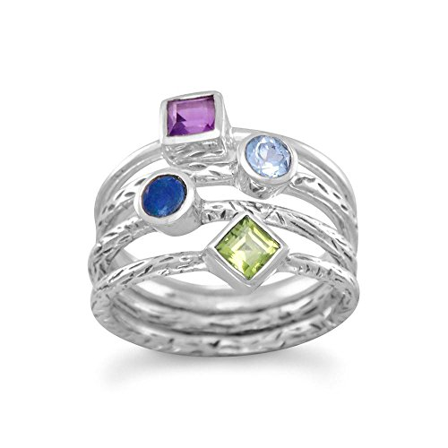 Blue Topaz Opal Ring - Stackable Ring set with Amethyst, Topaz, Peridot, and Synthetic Blue Opal, 9