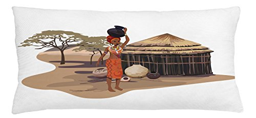 African Woman Throw Pillow Cushion Cover by Ambesonne, Native Woman Carrying a Pot Hut Tree Natural Landscape Village Illustration, Decorative Square Accent Pillow Case, 36 X 16 Inches, - Hut Village
