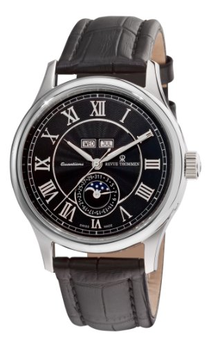 Revue Thommen Men's 16066-2537 Moonphase Analog Display Swiss Automatic Black Watch
