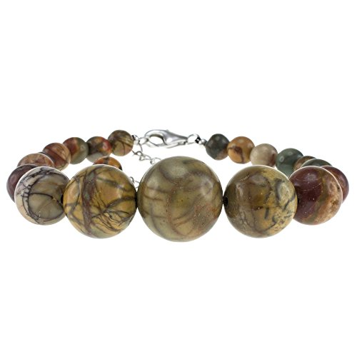 Picasso Jasper Sterling Silver (Pearlz Ocean Picasso Jasper Journey Bracelet with Sterling Silver Clasp)