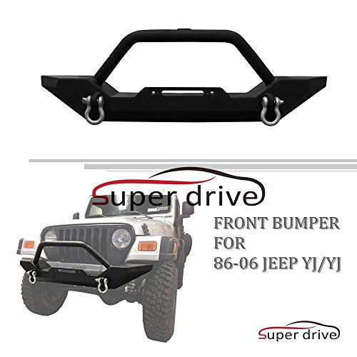 Super Drive B19G0906 - for 1987-2006 Jeep Wrangler Black Front Bumper Rock Crawler with Winch Plate Off Road Textured