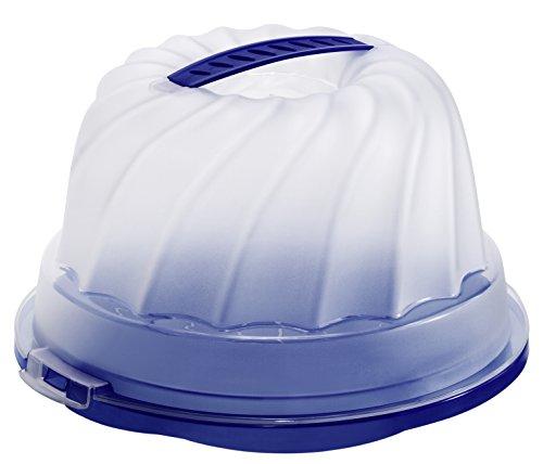 Rotho 1721106650 Gugelhupf-Kuchenbehälter Fresh aus Kunststoff (PP), mit sicherem Verschluss und bequemem Tragegriff, circa 30.5 x 28.5 x 17.5 cm, blau / transparent