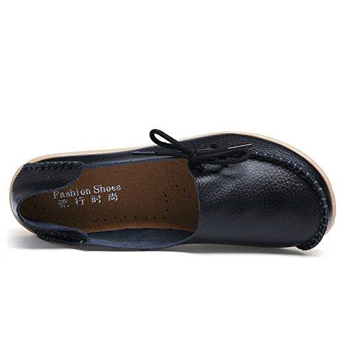 FCKEE Damen Leder Loafers Schuhe Slip-On Schuh Krankenschwester Schuhe Casual Mokassin Driving Schuhe Flache Hausschuhe Schwarz