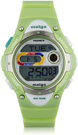 Cool Pasnew LED 100M Waterproof Digital Sport Watch for 5-15 Years Old Boys Girls Kids Students (Green)