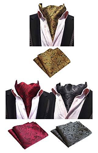 (MOHSLEE Mens Luxury Paisley 3 Pack Cravat Silk Ascot Scarf Tie Pocket Square Set)