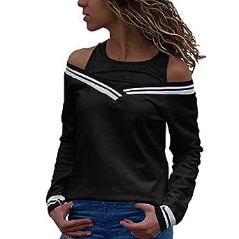 Cinhent Blouse, Women Cold Shoulder Patchwork Long Sleeve Tops Sweatshirt Black