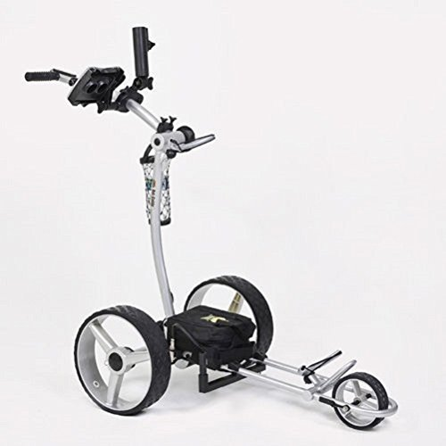Bat Caddy X4 Classic Electric Golf Push Cart w/Free Accessory Kit, Silver, 22Ah SLA