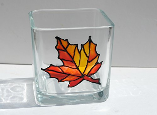Stained Glass Christmas Candles - Orange Autumn Maple Leaf Hand Painted Stained Glass Square Candle Holder, Fall Home Decor