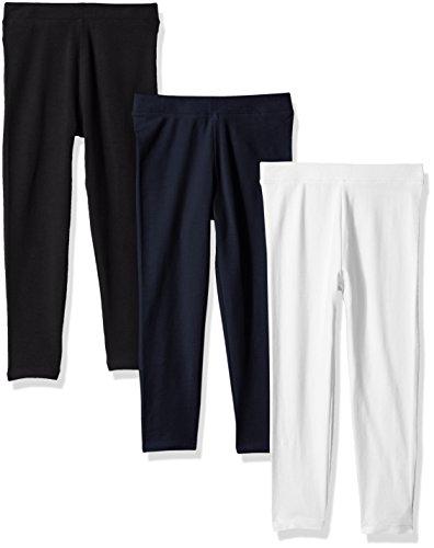 Amazon Essentials Big Girls' 3-Pack Leggings, Black/White/Navy Blazer, XL (12)