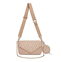 Small Quilted Crossbody Bags for Women Stylish Designer Purses and Handbags with Coin Purse including 2 Size Bag