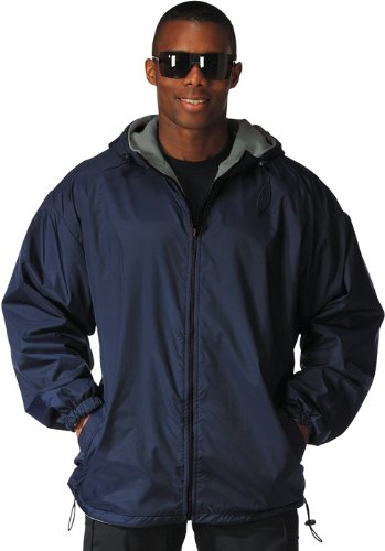 Reversible Fleece Lined Nylon Jacket with Hood NAVY/3XLRG