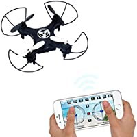 Dwi Dowellin Pocket Drone with camera Mobile Phone Control for iOS/ Android APP Wifi RC Hover Rotate Altitude Hold Mini RTF Quadcopter X3 Black