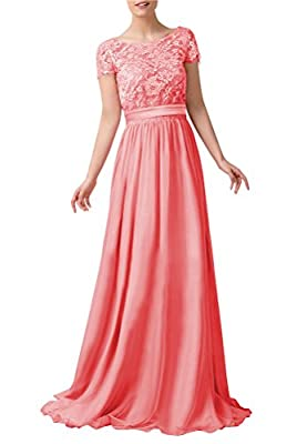 WeiYin Women's Short Sleeve Lace Empire Line Formal Evening Dresses