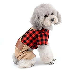 SELMAI Dog Overalls Birthday Outfits Plaid Dog Sweater Jumpsuit Small Pet Clothes Red Dog Tee Shirts with Khaki Pants XS