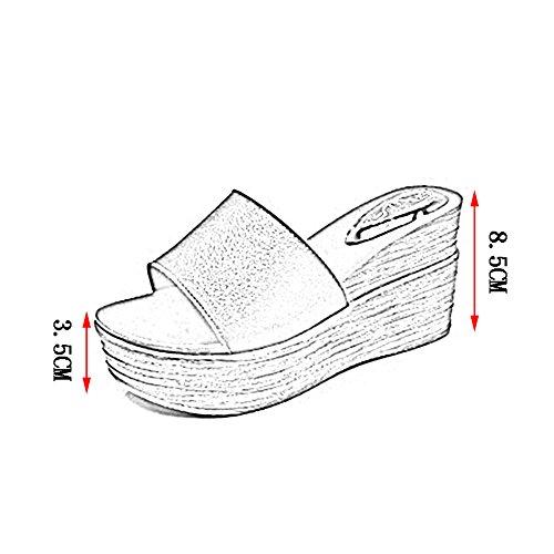Fondo 5CM del 230 Colores US6 Tamaño Blanco Altura 5 EU36 Pantofola 2 Retro Cuña PENGFEI Verano UK4 Talón Color Hembra Zapatillas Playa 8 Blanco Grueso gOnxIqvZ