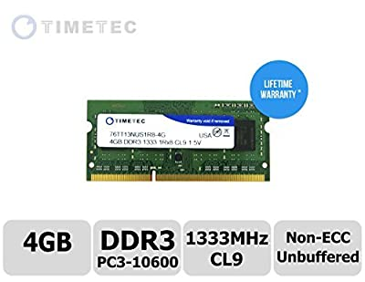Timetec Hynix IC 8GB Kit (2x4GB) DDR3 1333MHz PC3-10600 Non ECC Unbuffered 1.5V CL9 1Rx8 Single Rank 204 Pin SODIMM Laptop Notebook Computer Memory Ram Module Upgrade(High Density 8GB Kit (2x4GB)