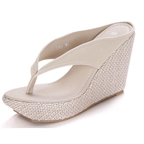 Donalworld Femmes Summer Beach Chaussures T Strap épais Sole Sandals Flip Flops Sandales Compensées Beige fvRPc9G