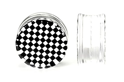 Painful Pleasures 4g up to 26mm CHECKERBOARD Black/White Double Flare Plugs - Price Per 1-5mm ~ - Checkerboard Mm 26