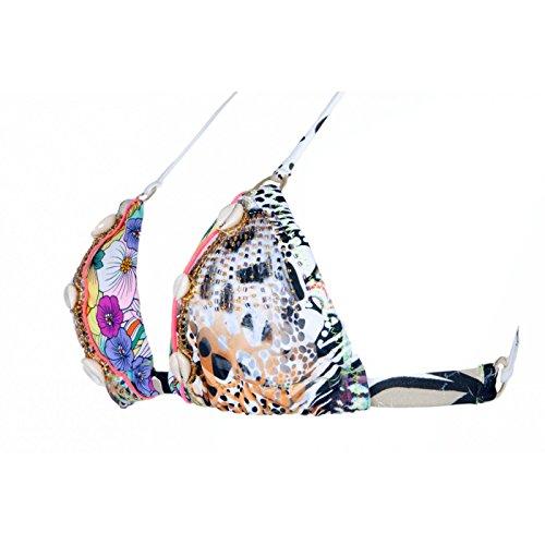 Mia Confitura-Bañador de 2 piezas, diseño de bikini triangle bordado a mano de perlas y moluscos MYSTIC LOVE blanco