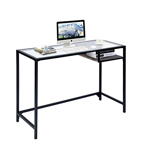 - Aingoo Glass Computer Desk Study Writing Table Metal Frame for Student