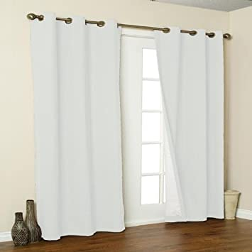 Thermalogic Weathermate Solid Insulated Grommet Top Curtain Panel Pairs White 80 X 63quot