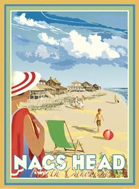 NC Vintage Art Deco Style Travel Poster-by Aurelio Grisanty Nags Head