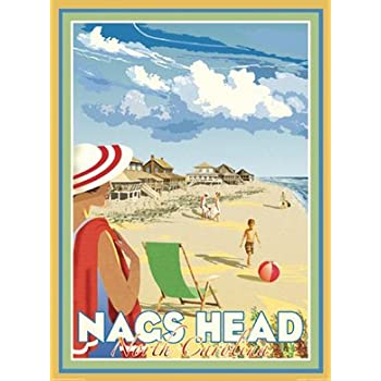 Nags Head, NC-Art Deco Style Vintage Travel Poster-by Aurelio Grisanty