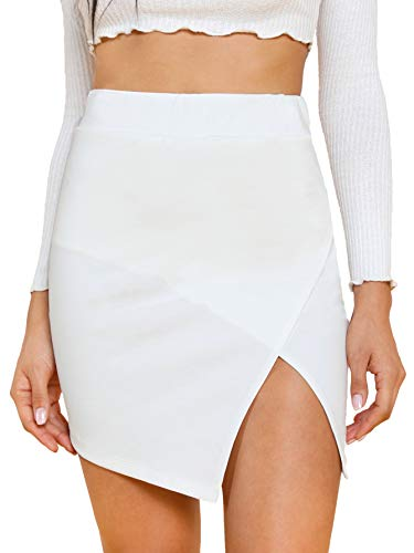 WDIRARA Women's Asymmetrical Mid Waist Split Front Above Knee Solid Bodycon Skirt White M