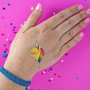 RAINBOW UNICORN set of 25 premium waterproof temporary colorful metallic gold jewelry foil Flash Tattoos – party favors