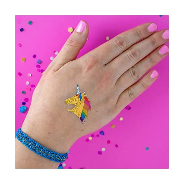 RAINBOW UNICORN set of 25 premium waterproof temporary colorful metallic gold jewelry foil Flash Tattoos – party favors 4