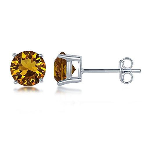 Sterling Silver Italian Set with Swarovski Crystal Synthetic Birthstone 6mm Diamond Basket Setting Stud Earrings