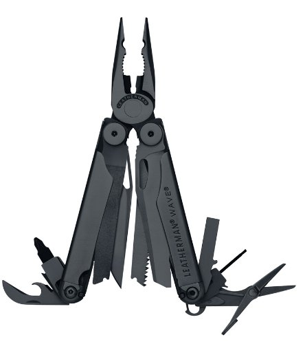 Leatherman Wave Black Oxide With Black Molle Sheath With Cap Crimper 830489, Outdoor Stuffs