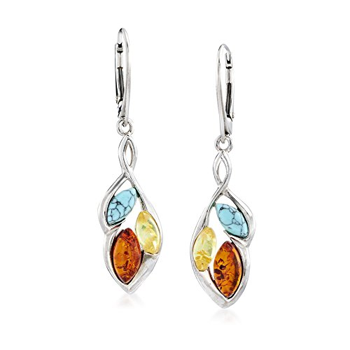 Ross-Simons Tonal Amber and Howlite Cluster Drop Earrings in Sterling Silver (Sterling Silver Amber Cabochon Earrings)