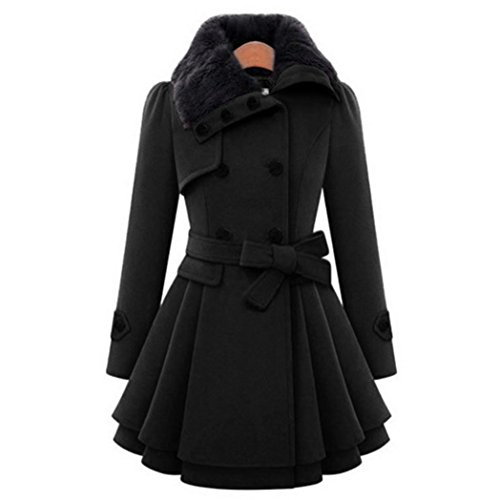 - Paymenow Women Notched Lapel Double Breasted Worsted Warm Ruffled Pea Worsted Coat Jacket (Black, L)
