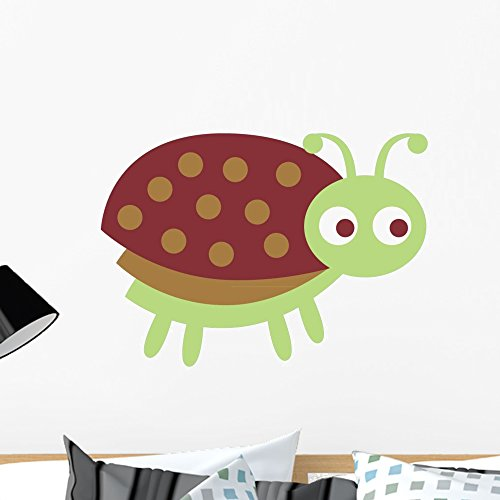 Wallmonkeys Cute Green Little Ladybug Wall Decal - Ladybug wall art