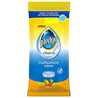 Pledge Multi-Surface Furniture Polish Wipes, Works on Wood, Granite, and Leather, Cleans and Protects, Fresh Citrus - Pack of 4 (100 Total Wipes)