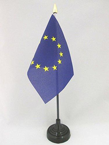AZ FLAG - DRAPEAU DE TABLE EUROPE 15x10cm - PETIT DRAPEAUX DE BUREAU EUROPÉEN - UNION EUROPÉENNE - UE 10 x 15 cm pointe dorée