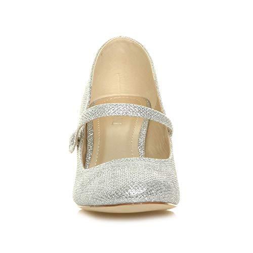 Ajvani Chaussure Babies Scintillante Haute Élégant Talon Sangle Paillettes Moyen Fête Argent Travail Taille Soir Femme rHwvUr