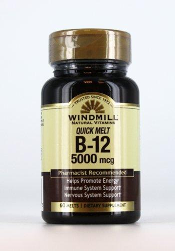 - Windmill Quick Melt Vitamin B-12 5000 MCG Dietary Supplement, 60 Count (1)