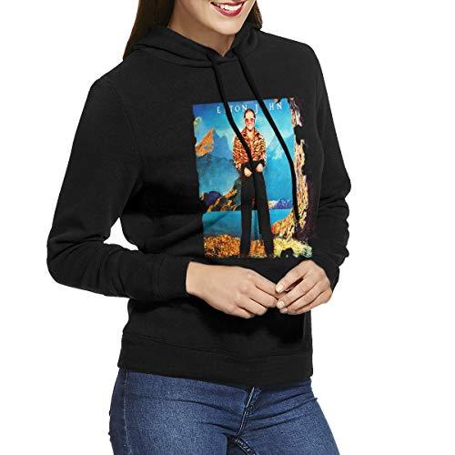 URAHARA Elton John Caribou Women's Hooded Sweatshirt Black XL -