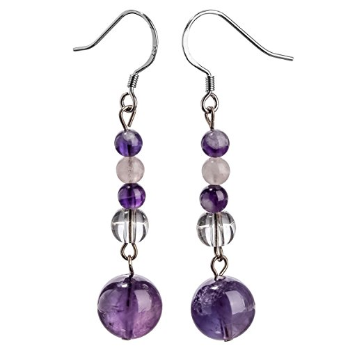 Amethyst Quartz Jewelry Set - YACQ Sterling Silver Amethyst Rose Quartz Clear Quartz Gemstone Dangle Earrings Handcrafted Jewelry for Women (amethyst,rose quartz,clear quartz)