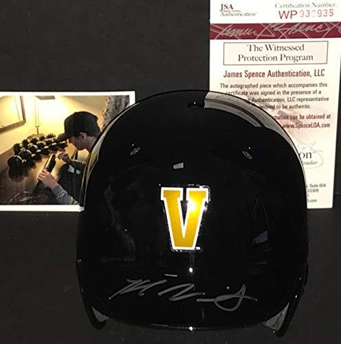 Kyle Wright Vanderbilt Commodores Autographed Signed Mini Baseball Helmet JSA WITNESS COA