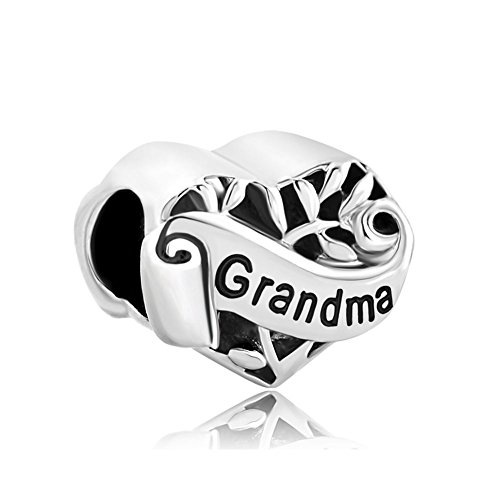 Third Time Charm Heart I Love You Grandma Charm Family Tree Of Life Beads For Bracelets (Special Grandma Heart Charm)