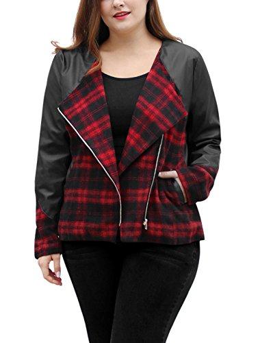 Agnes Orinda Women's Plus Size Plaids Panel PU Moto Jacket 2X Black (Jacket Plaid Moto)
