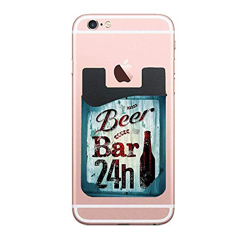 CardlyPhCardH Grunge Beer Bar 24h Figure Old Pub Sign Emblem Restaurant Graphic Design Phone Pocket,Cell Phone Stick On Card Wallet,Credit Cards/ID and All Smartphones 2 PCS