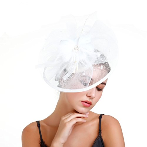 Derby Fascinator Hat,Flower Cocktail Tea Party Hats Headband with Hair Clip Flower Mesh Fascinator for Women Girls on Wedding, Party,Bride Shower (White) ()