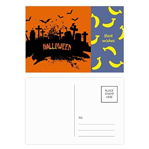 Cemetery Postcard - Horror Night Cemetery Halloween Banana Postcard Set Thanks Card Mailing Side 20pcs