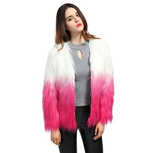 (Erencook Women's Shaggy Faux Fur Coat Jacket (L=US 6, Rose Pink))