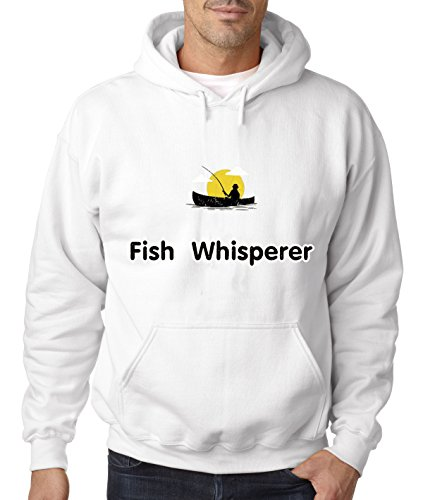 New Way 034 - Hoodie FISH WHISPERER PARODY FISHING ENTHUSIASTIC Unisex Pullover Sweatshirt 2XL White